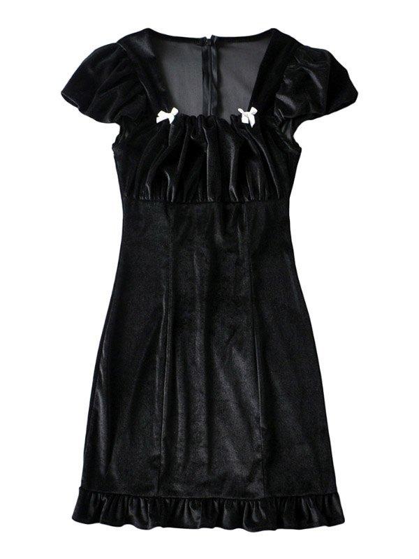 Velvet Short Sleeve Midi Dress - Black S