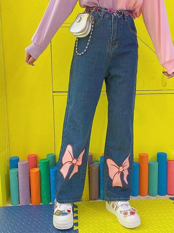 Bow Tie Print Mom Jeans - Blue L