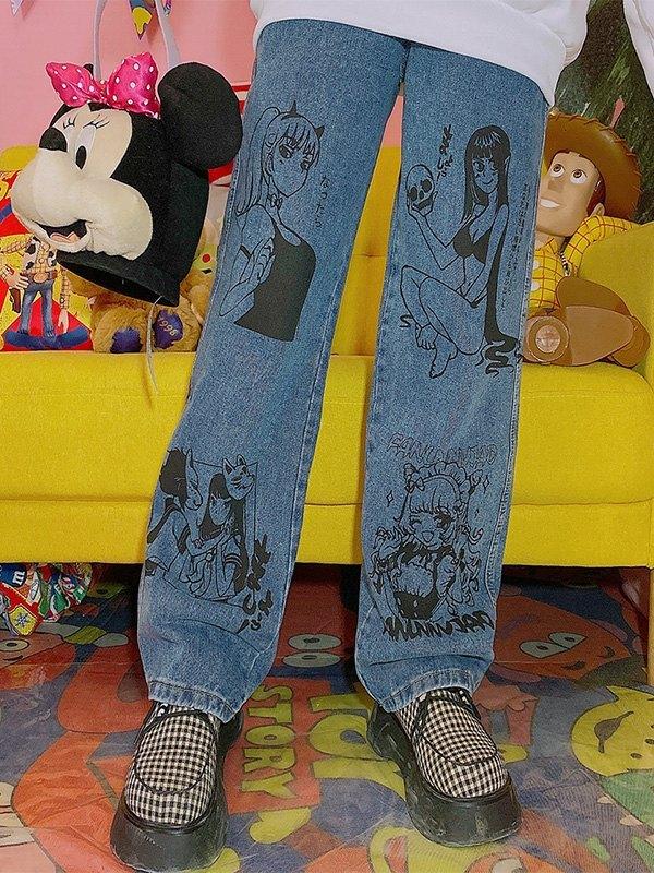 Anime Print Mom Jeans - Blue L