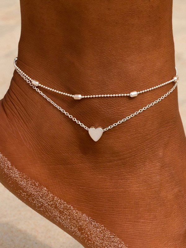 Heart Decor Layered Anklet - Silver ONE SIZE