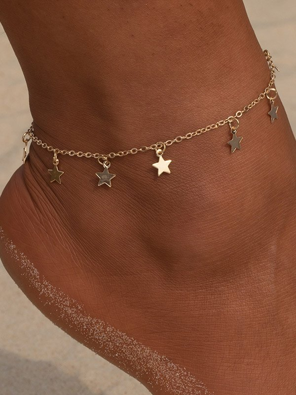 Simple Star Pendant Anklet - Golden ONE SIZE