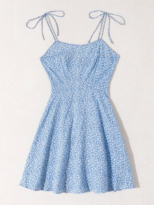Printed Slip Midi Dress - Blue L