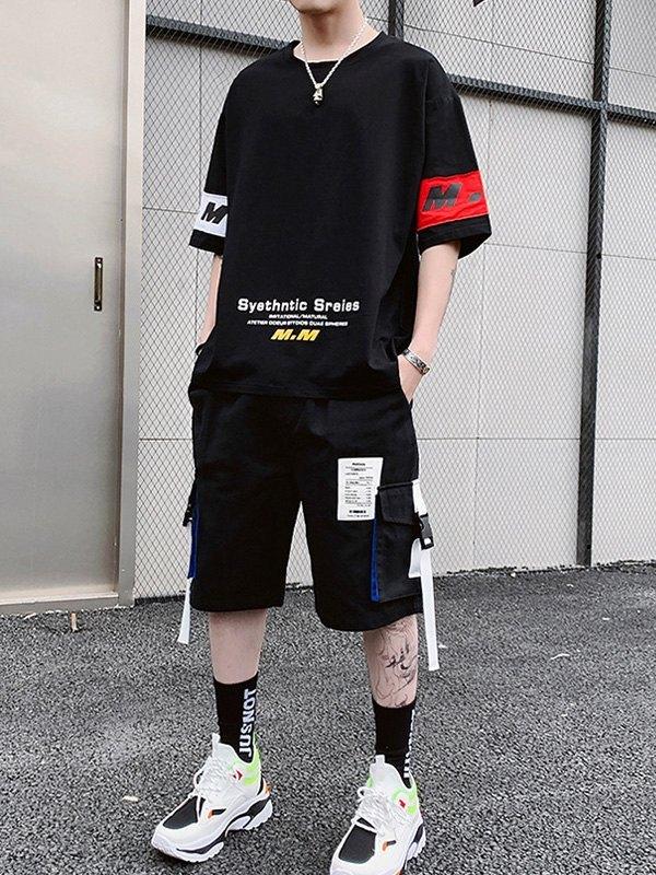 Men's Applique Shorts Tracksuit Set - Black 2XL