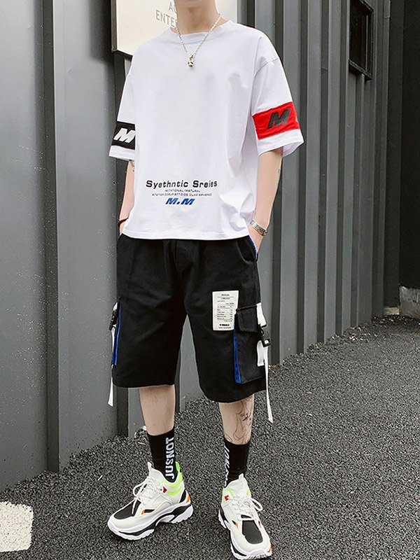 Men's Applique Shorts Tracksuit Set - White S