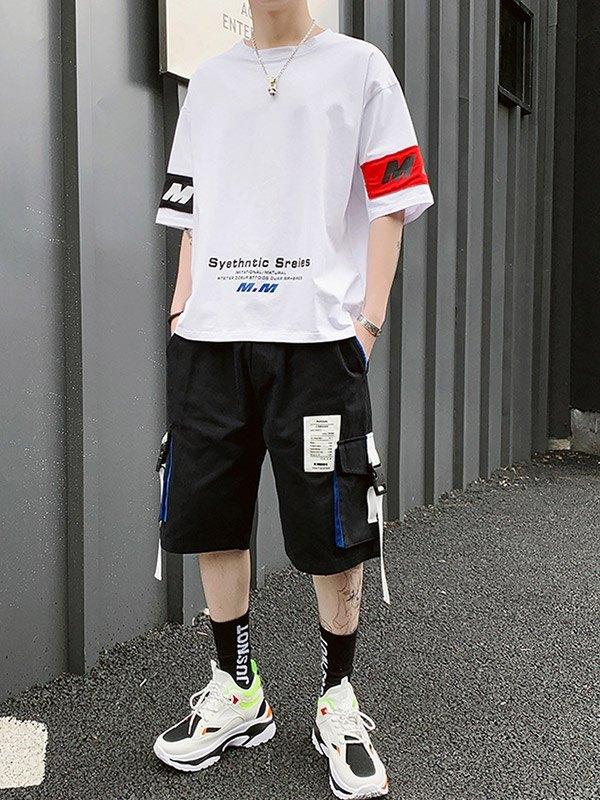 Men's Applique Shorts Tracksuit Set - White L