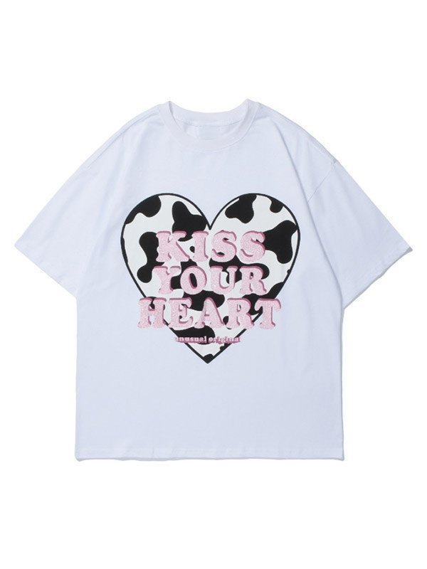 Men's Kiss Your Heart Printed Tee - White L
