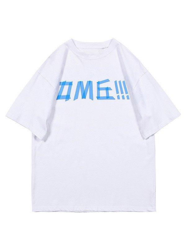 Men's Combine Letter Graphic Tee - White L