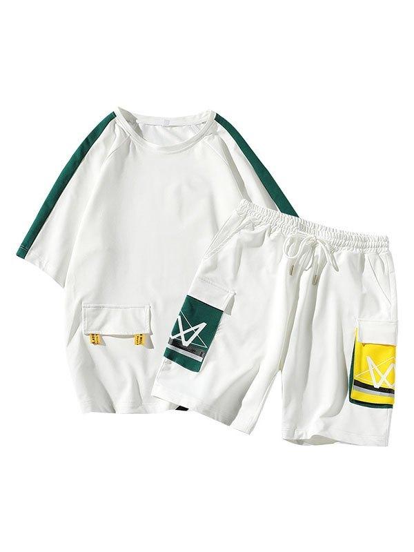 Men's Short-Sleeve Printed Tracksuit Set - White XL