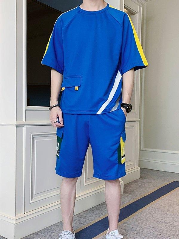 Men's Short-Sleeve Printed Tracksuit Set - Blue XL