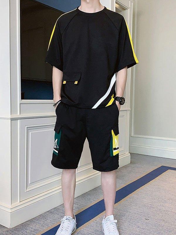 Men's Short-Sleeve Printed Tracksuit Set - Black L